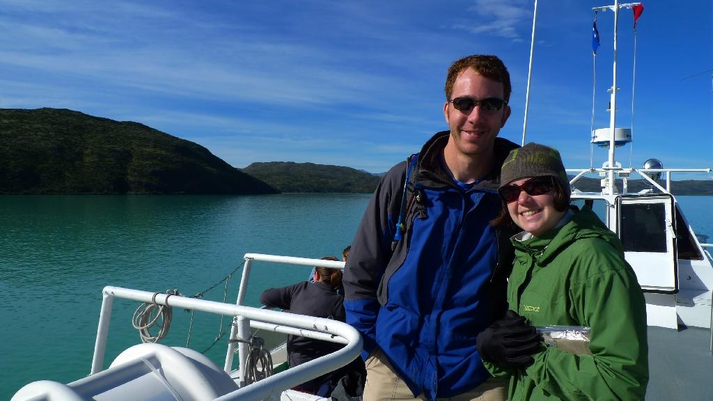"""Heather and Chris, Catamaran """"W trek"""" Torres del Paine, Chile"""