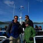 "Heather and Chris, Catamaran ""W trek"" Torres del Paine, Mito enjoying morning coffee"