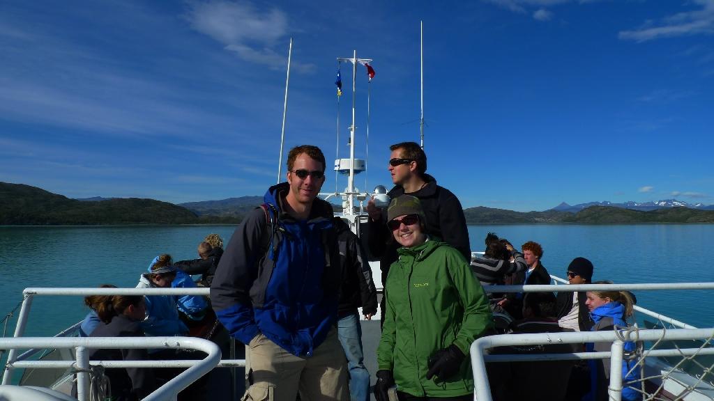 "Heather and Chris, Catamaran ""W trek"" Torres del Paine, Mito enjoying morning coffee"